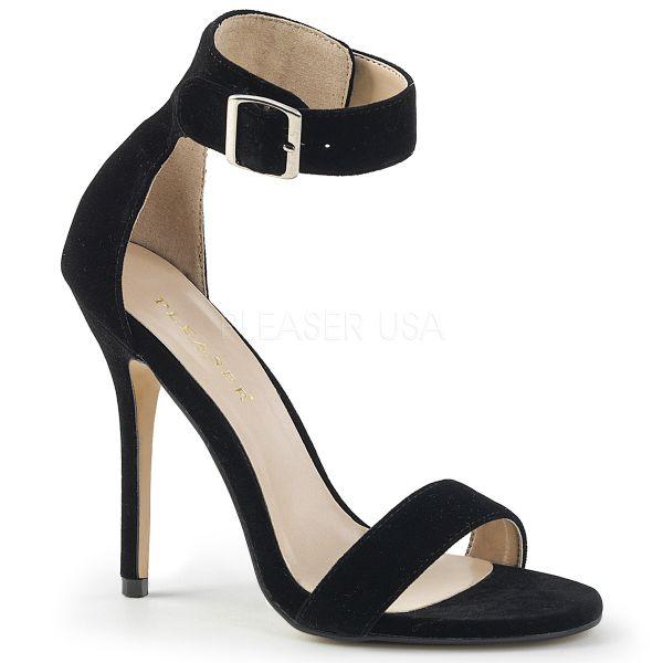 High-Heel Sandalette in schwarz Samt mit breitem Fesselriemchen und großer silberfarbener Schnalle Amuse-10
